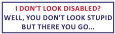 I Don't Look Disabled? You Don't Look Stupid - Novelty Car Van Sticker
